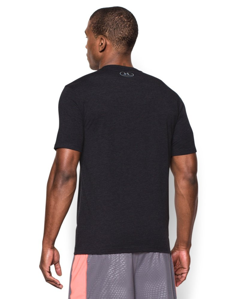 Under Armour Men's Charged Cotton Left Chest Lockup T-Shirt, Black /Steel, XXX-Large by Under Armour (Image #2)