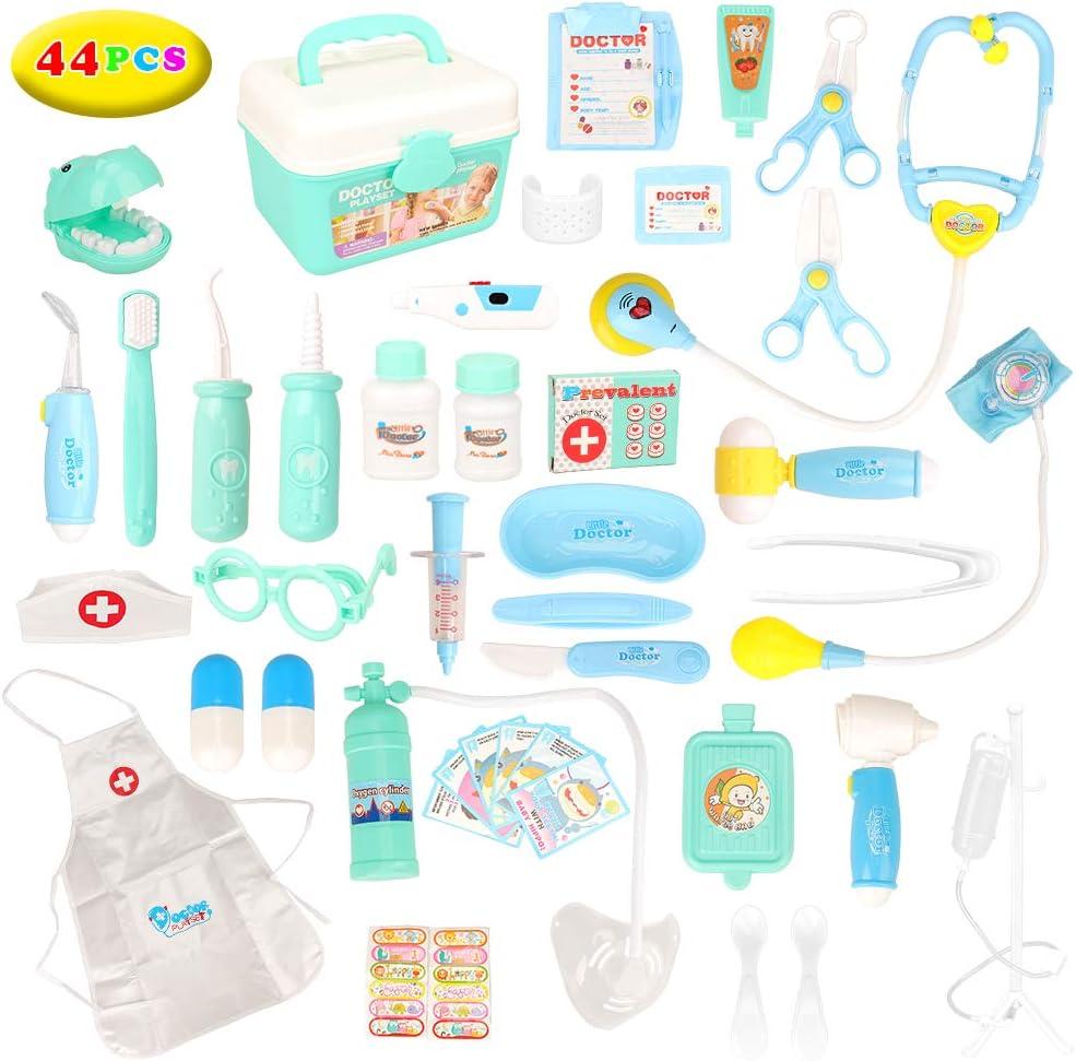 Miunana 44 Piezas Juguetes = Azul Maletín de Médico, Mochila Enfermera para Juego de rol para Niños 3 Años