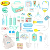 Barwa 44pcs Doctors Kit for Children, Prentent Play Dentist Medical Kit with Electronic Tools and Coat for Kids, Roll…