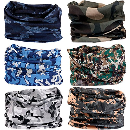 VANCROWN 6PCS Headwear, Headband Scarf Bandanna Headwrap Mask Neckwarmer & More 12-in-1 Multifunctional Stretchable Sport & Casual (6PC.Camouflage Series.2)