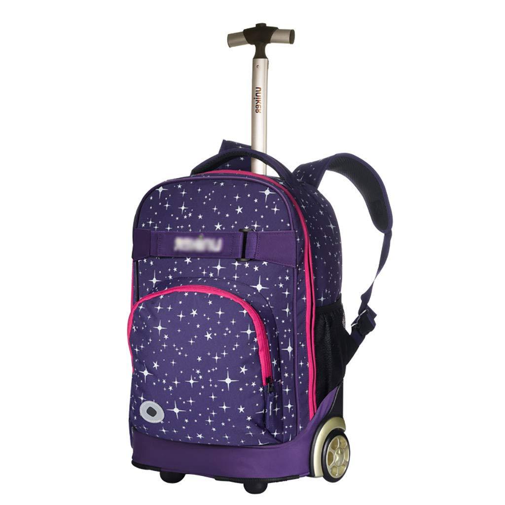 トロリーバックパックホイルラップトップカレッジバックパック、ローリングスクールバッグ、ビジネスバックパック、旅行のバックパックをウィールドローリングバックパック   B07NMPST54