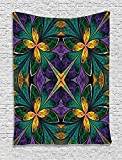 asddcdfdd Fractal Tapestry, Antique Ornate Symmetric Stained Glass Mosaic Window Style Floral Tile Pattern, Wall Hanging for Bedroom Living Room Dorm, 60 W x 80 L Inches, Green Purple