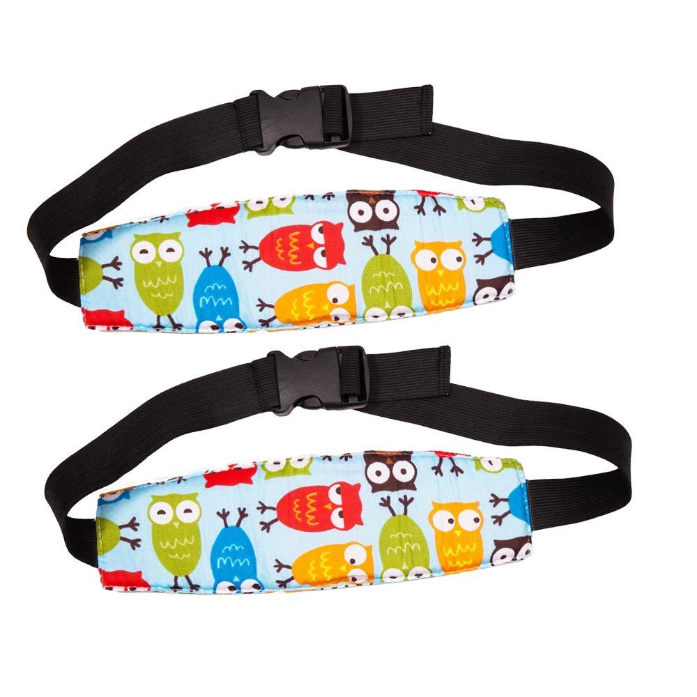 Meowoo Cinturón para dormir Soporte Cabeza Bebés Ajustable Adecuado para cochecitos, Patrón de búho (Azul 2pcs): Amazon.es: Bebé