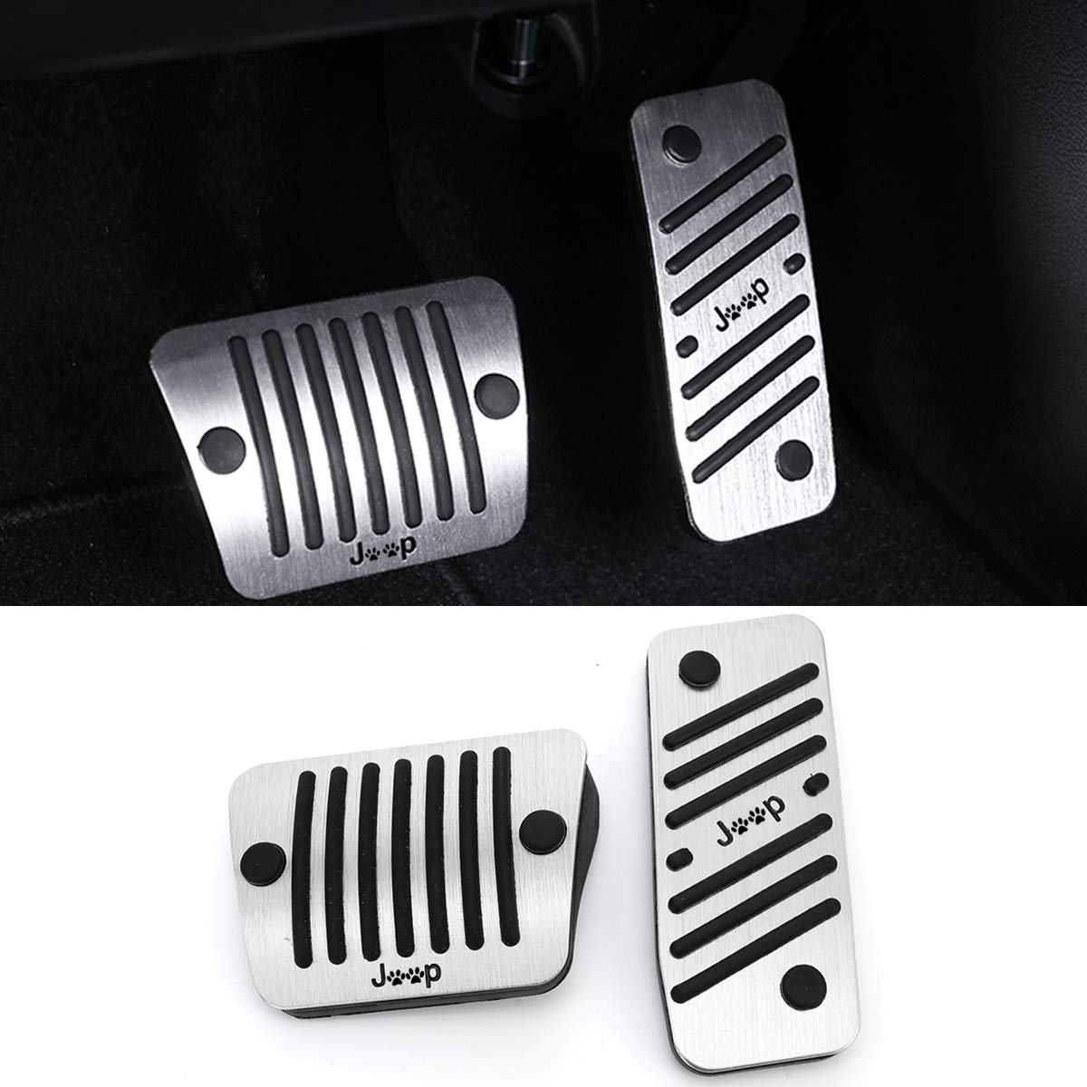 No Drill Gas Brake Pedal Compatible with Jeep Renegade/Compass, Jaronx Aluminum Alloy Anti-slip AT Accelerator Pedal Covers Brake Pedal Pads (Compatible with:Jeep Renegade and Compass)
