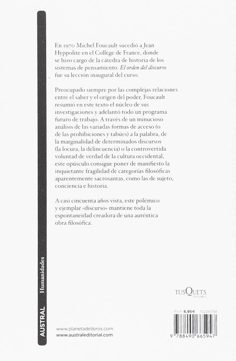 El orden del discurso (Contemporánea): Amazon.es: Michel Foucault, Alberto González Troyano: Libros