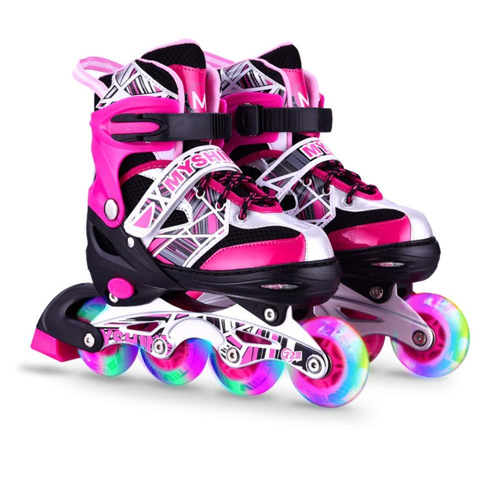 Wenzhihua Los niños se iluminan parpadeando Zapatos de Led Patines en línea Ajustables para niños y Adultos, Rollerblades con Todas Las Ruedas iluminadoras para niñas y niños para niños y niñas