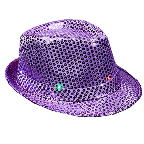 Anleolife Purple LED Fedora Hats/Flashing Led Cap/Supreme Novelty Hats For Adults Novelties Dance Hat/Fedoras Sequins Show Hat Men and Women Coloful Performing Paillette Jazz Fedoras Dance Hat Bling Hats 58cm/23'' Kids Adults General Use (Adult Novelty Hats)