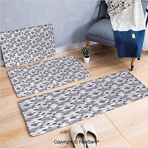 3 Piece Fashion Flannel Door Mat Carpet Floral Patterns Victorian Inspired Roses with Dark Flowers in Monochrome Graphic Print Decorative for Door Rugs living room(W15.7xL23.6 by W19.6xL31.5 by W19.6x