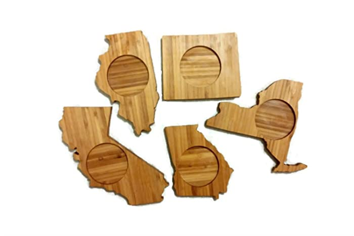 create your own coasters set of four bamboo state shape coasters great amazoncom coaster shape home office