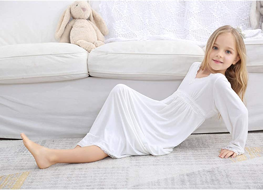 Nightgowns for Girls Long Vintage Soft Cotton Kid Sleepwear Nighties Full Length Nightdress for Kids 3-12 Years