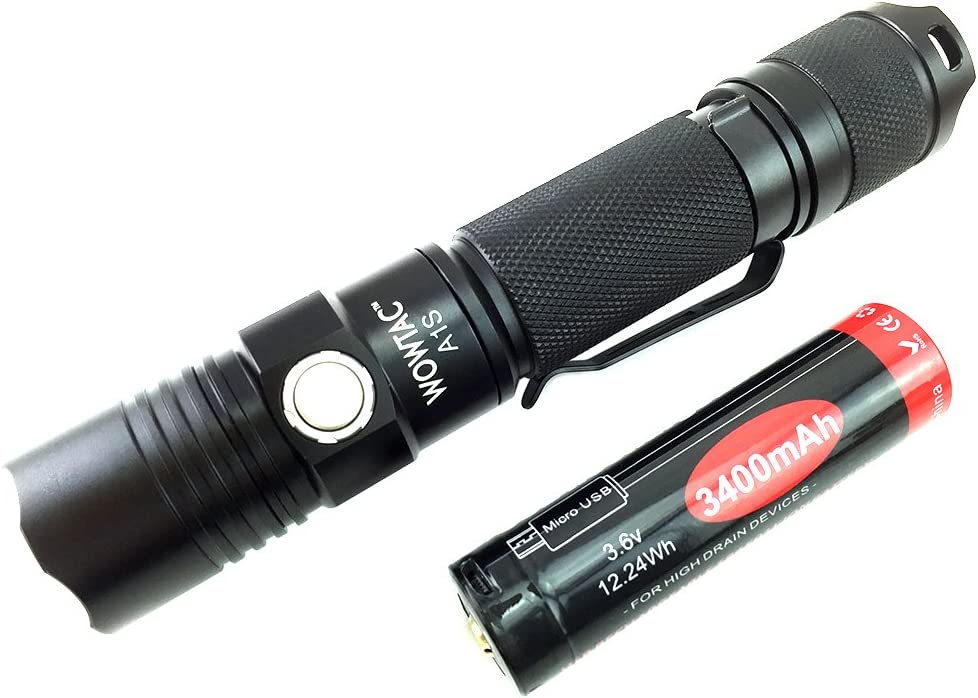 resistencia al agua IPX-7 y bater/ía de litio recargable USB 18650 3400Mah A1s Blanco fr/ío WOWTAC Linterna LED de bolsillo de 1150 l/úmenes con 5 modos con luz estrobosc/ópica