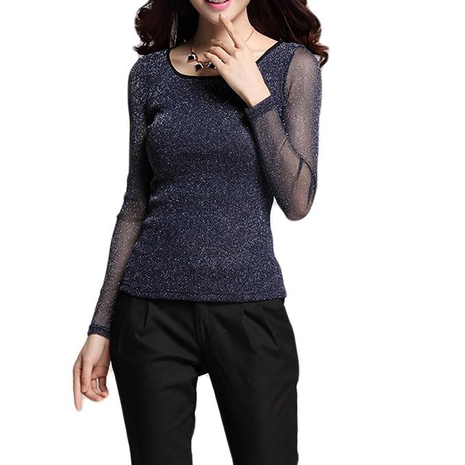 e1e0ff44a4544f Qunson Womens Sheer Long Sleeve Stretch Bling Mesh Tops T Shirt at ...