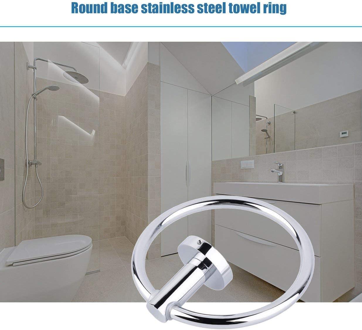 pr/áctico toallero para colgar en el ba/ño Sairis color plateado Toallero de acero inoxidable con forma redonda