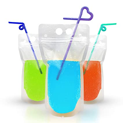 7e2b51b69315 100 PCS Drink Pouches with Straw - Reusable Juice Pouches with Plastic  Zipper, Smoothie Bags with 100 PCS Straws