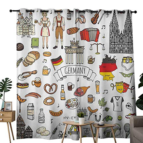 LewisColeridge Window Curtains German,Hand Drawn Doodle of German Culture Icons Football Jersey Food Science and Music,Multicolor,Tie Up Window Drapes Living Room 54