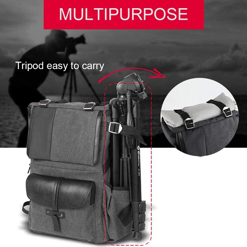 DSLR Camera Backpack Camera Bag Waterproof Canvas Photographic Shoulders Bag Ultralight Daypack Large Capacity with Laptop Compartment Travel Bag for Camera Tripod Lens Accessories