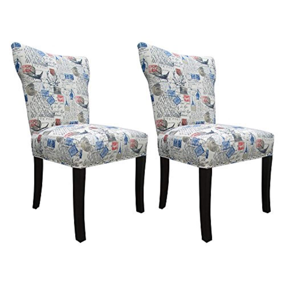 Sole Designs Prim-NAT Amore Series Bella Collection Upholstered Modern Dining Chair Blue Red