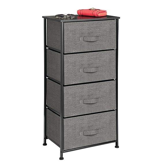 mDesign Cómoda de tela – Práctico organizador de armarios con 4 cajones – Sistema de almacenamiento estrecho para el dormitorio, apartamentos y salas ...