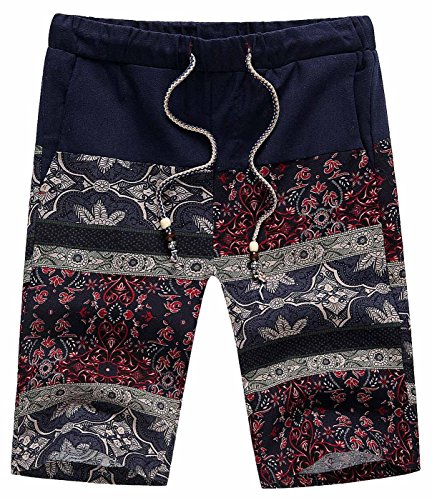 AIEOE Men Boardshorts Linen Floral Print Drawstring Quick Dry Hawaiian Shorts (US 38 (216-231lb), Color 3)