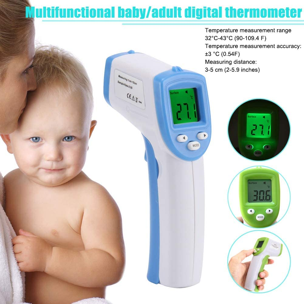 Digital Forehead Inrared Thermometer Digital Infrared Baby Thermometer LCD Non-Contact IR Forehead Ear Body Non-Contact Temperature Measurement Tool for Baby,Adult,Kid,Toddler,Infant