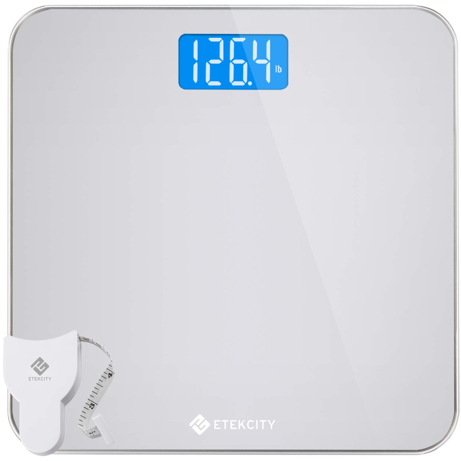 400 Pounds EB4887S Large Blue LCD Backlight Display High Precision Measurements Etekcity Digital Body Weight Bathroom Scale with Body Tape Measure and Round Corner Design