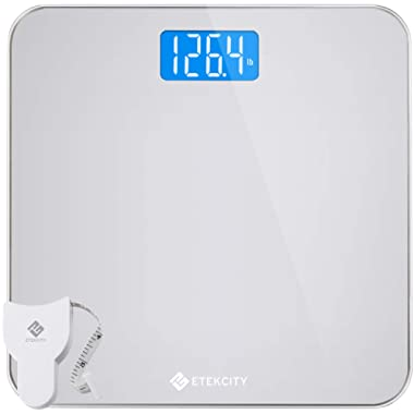 Etekcity Digital Body Weight Bathroom Scale with Body Tape Measure and Round Corner Design, Large Blue LCD Backlight Display, High Precision Measurements, 400 Pounds