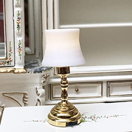 112 scale Dollhouse Mini Table Lamp Living Room Reading Light Bedroom LED