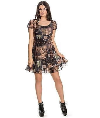 c03479da0eb Hell Bunny Goth Punk Black Mini Dress Renaissance Donnatella Painting XL  16  Amazon.co.uk  Clothing