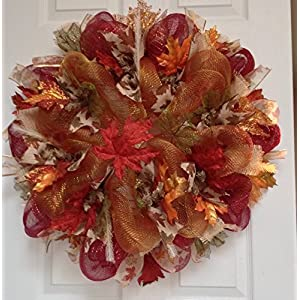 Maple Leaves Autumn or Harvest Deco Mesh Handmade Wreath 20 Inches 13