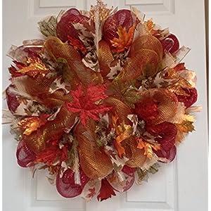 Maple Leaves Autumn or Harvest Deco Mesh Handmade Wreath 20 Inches 6