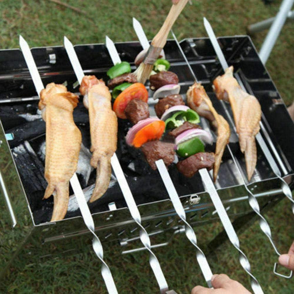 Loriver 10pcs 37cm Pinchos de Barbacoa de Barbacoa de Acero Inoxidable Parrilla Kebab Largo