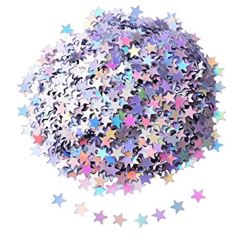 (Shappy Star Confetti Star Table Confetti Stars Sequin for Party Wedding Supplies, 45 Grams, Silvery)