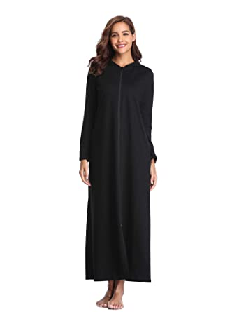 a6f8acd73d Lusofie Robes for Women Zipper Front Hoodie Long Bathrobe with Pockets  Loungewear (Black
