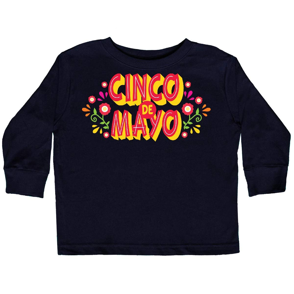 inktastic Cinco De Mayo with Flowers Toddler Long Sleeve T-Shirt