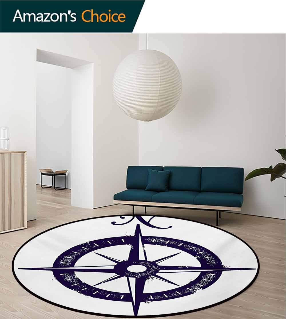 RUGSMAT Compass Round Rug,Sailing Compass with A Giant Symbol On with A Windrose Dark Purple Tones Carpet Door Pad for Bedroom/Living Room/Balcony/Kitchen Mat,Round-63 Inch Dark Purple White by RUGSMAT (Image #2)