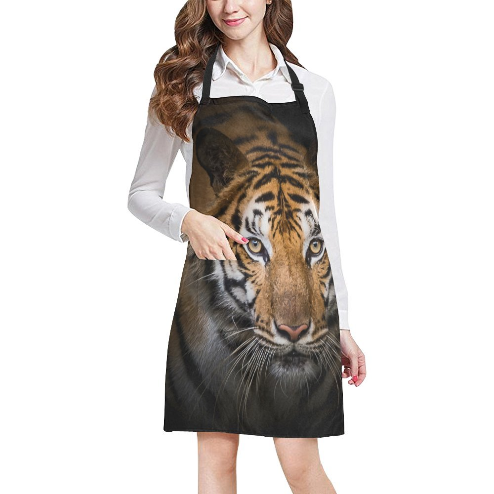 InterestPrint Hipster Cool Animal Angry Tiger Unisex Adjustable Bib Apron with Pockets for Women Men Girls Chef for Cooking Baking Gardening Crafting, Large Size
