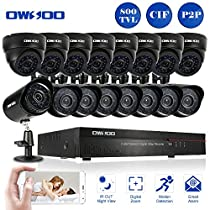 OWSOO 16CH CIF CCTV DVR Security System with 8x 800TVL Indoor Dome Camera & 8x 800TVL Outdoor Weatherproof Bullet Camera, Support IR-CUT Filter Infrared Night Vision Plug and Play
