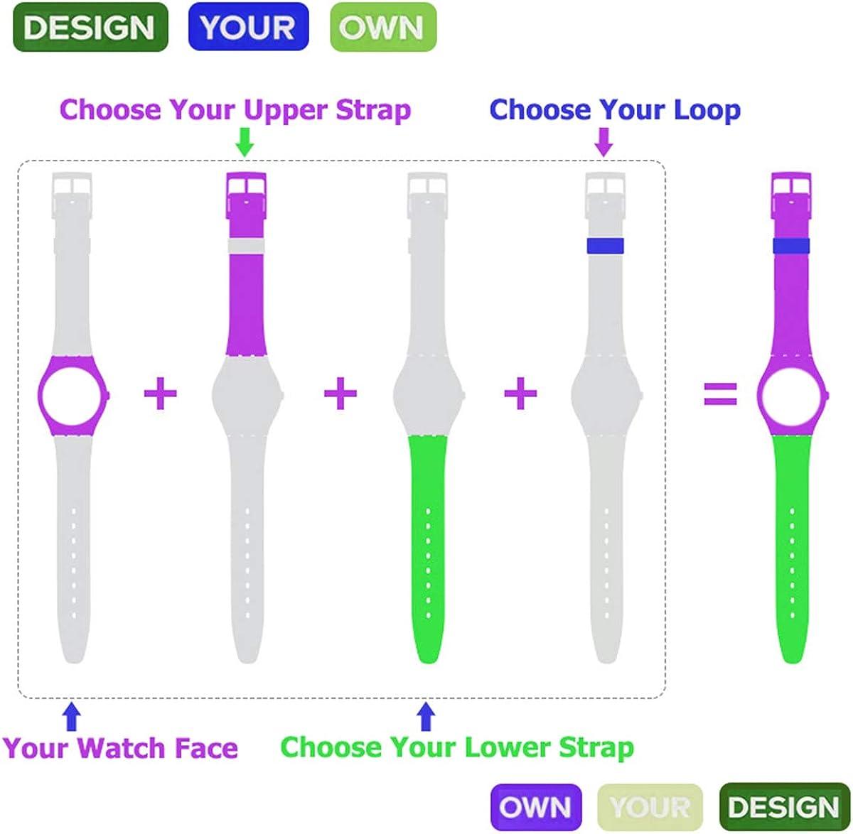 Bracelet en silicone étanche, bracelet pour Swatch (1,7cm, 1,9cm, 2cm) lilas