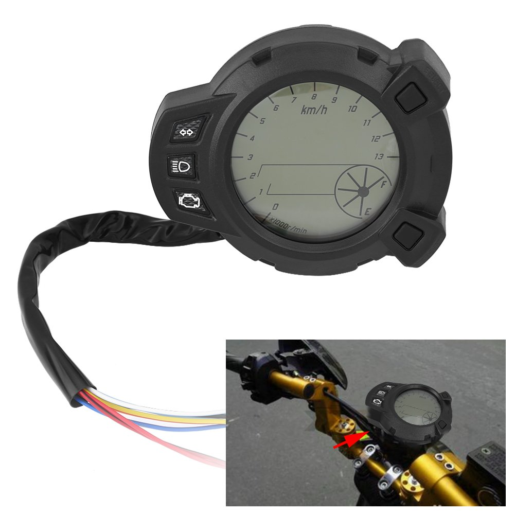Universal Motorcycle Digital LCD Speedometer Motorcycle Instruments LCD Speedometer Odometer Tachometer for Yamaha BMS125 7 Color Meter