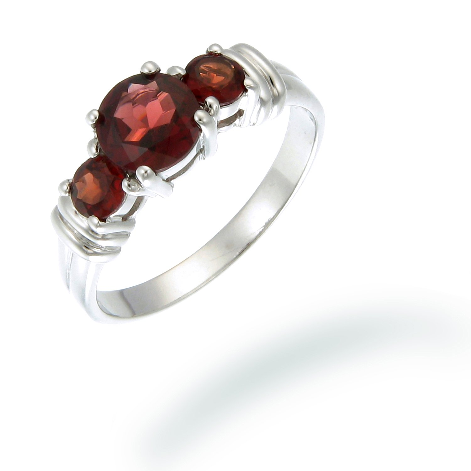d7dcea8425c80 3 Stone 6 MM 1.20 CT Garnet Ring Sterling Silver