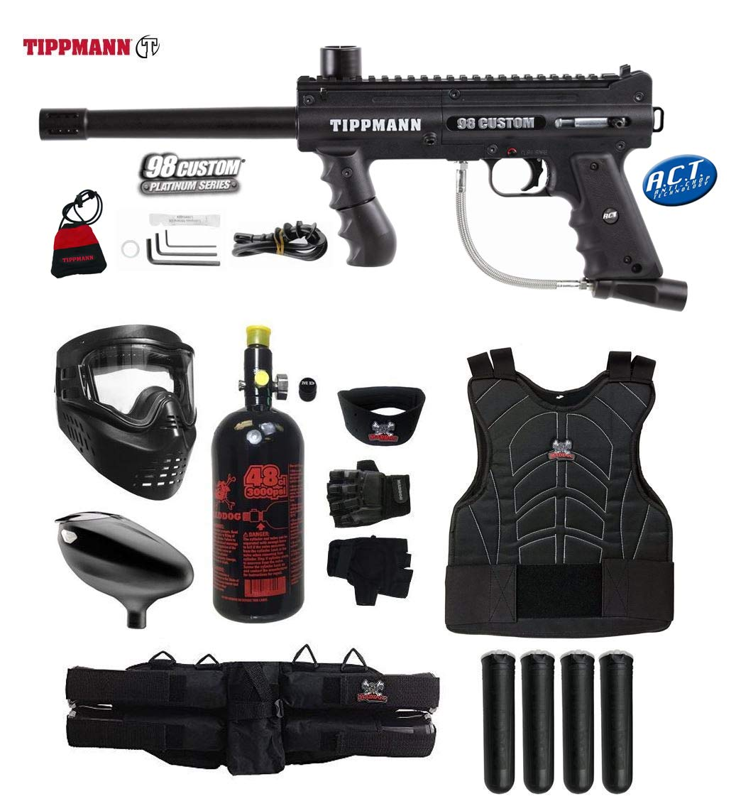 MAddog Tippmann 98 Custom ACT Starter Protective HPA Paintball Gun Package - Black