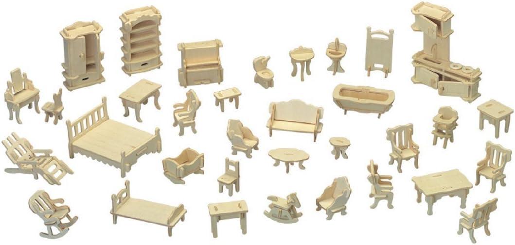 YOUKU Dollhouse Furniture - 3D Puzzle Furniture Dolls House Accessories Kit - DIY Wooden Miniature Furniture Puzzle House Furniture Set Wooden House Puzzles - 34 Pieces