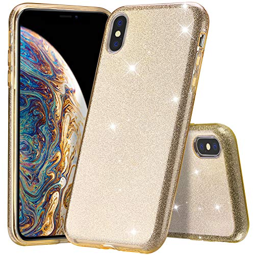 ProCase Glitter Case for iPhone Xs Max, Cute Sparkle Bling Luxury Soft Bumper Case Protective Cover (Supports Wireless Charging) for Girls Women for Apple iPhone Xs Max 6.5 (2018 Release) -Gold