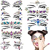 Vermogen 8 Sets Face Gems Rhinestone Glittering Sticker Tattoo Jewelry Stick on Body Colorful Festival Jewels for Forehead Decorations