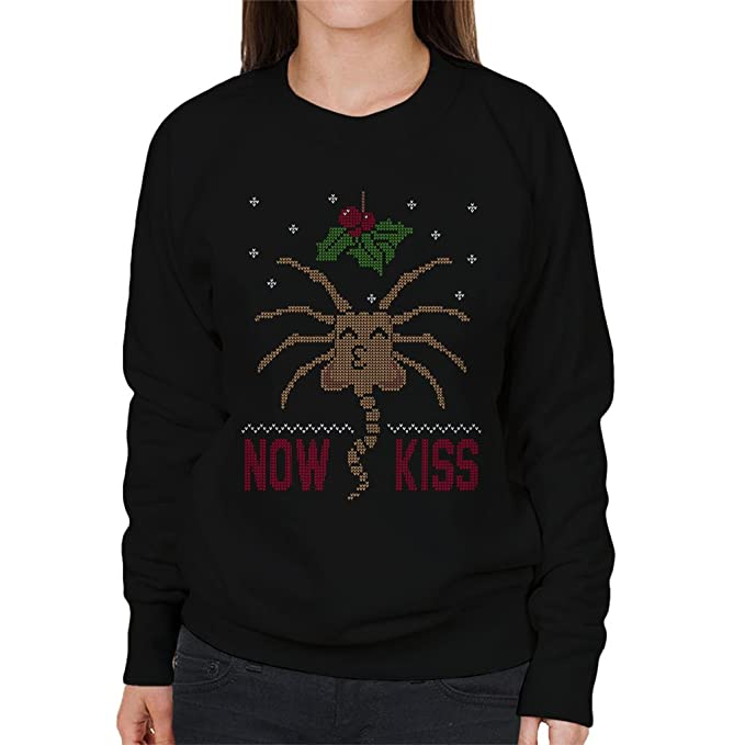 Alien Facehugger Mistletoe Now Kiss Christmas Knit Pattern Womens