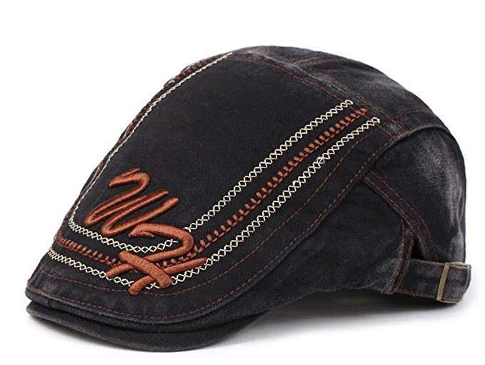 f168f274830 ChezAbbey Scally Washed Canvas Summer Cabbie Easy Flat Cap Classic Newsboy  Hat with Adjustable Strap