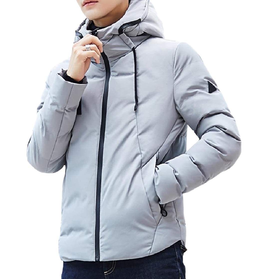 YUNY Men Padded Jacket Hoodie Thick Relaxed Quilted Warm Puffer Down Coat Light Grey 3XL