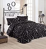 LaModaHome 3 Pcs Soft Colored Bedroom 65% Cotton Double Quilted Bedspread Set 100% Fiber Filling Padded Soft Relaxed Design Comfortable Pattern Music Musical Note Queen, Full and King Bedspread Set