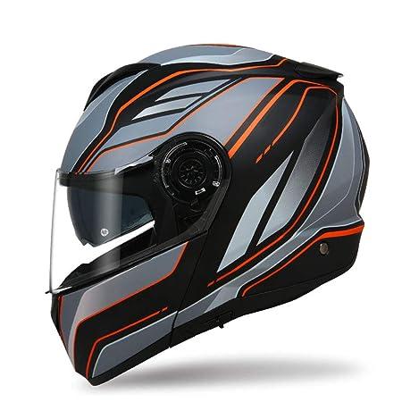 SX-ZZJ Cascos Casco - Casco Doble de la Motocicleta Casco Personalizado de la Motocicleta de la Cubierta Completa (Color : C, Tamaño : L): Amazon.es: Hogar