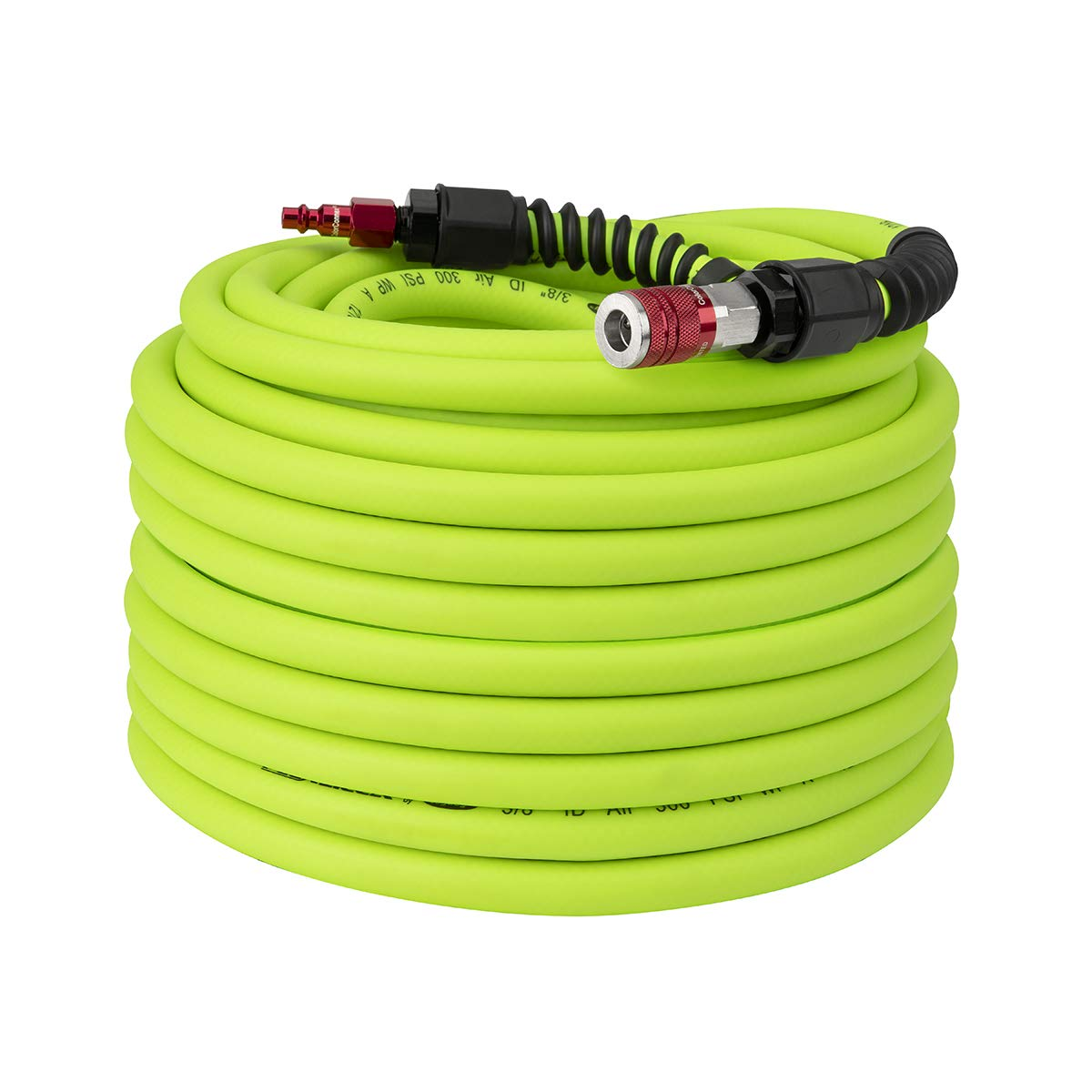 Flexzilla Pro Air Hose with ColorConnex Industrial Type D Coupler and Plug, 3/8 in. x 100 ft, Heavy Duty, Lightweight, Hybrid, ZillaGreen - HFZP38100YW2-D